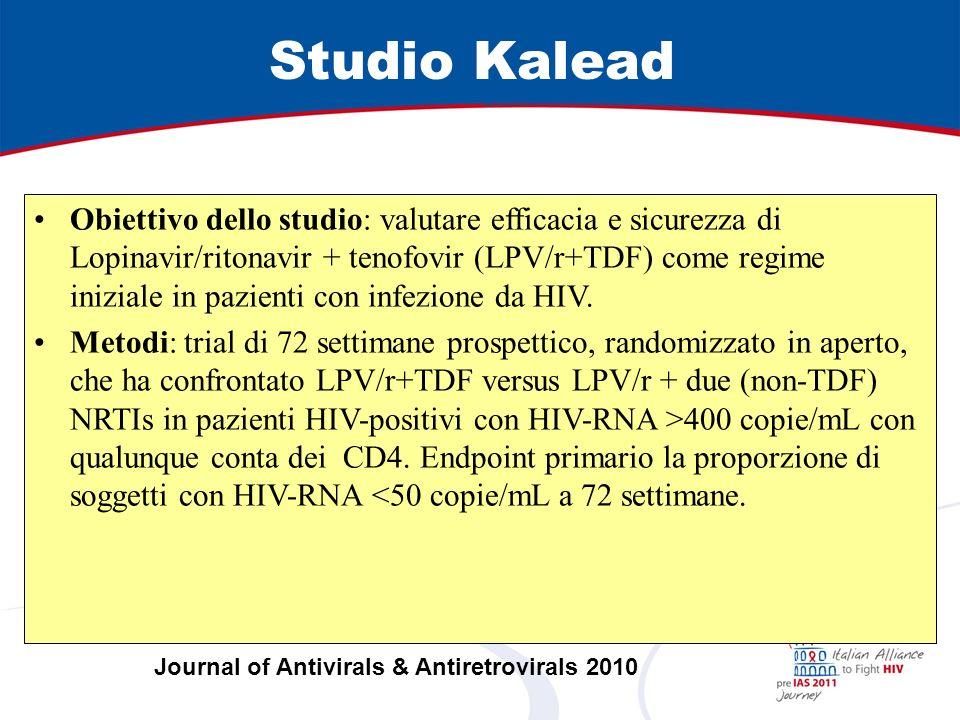 Studio Kalead Obiettivo dello studio: valutare efficacia e sicurezza di Lopinavir/ritonavir + tenofovir (LPV/r+TDF) come regime iniziale in pazienti con infezione da HIV.