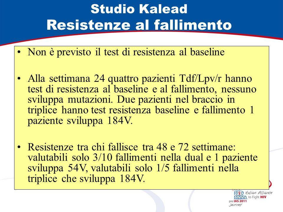 Studio Kalead Efficacia viro-immunologica Tdf/Lpv/rLPV + 2 NRTI Intent to treat <50 copie/mL a 72 settimane (%)51,452,5 On treatment <50 copie/mL a 72 settimane (%)87.293 HIV-RNA <50 copie/mL a 24 settimane N° (%)50 (69.4)56 (70) HIV-RNA 10 6 copie/mL (%) 5763 HIV-RNA <50 copie/mL a 24 settimane con baseline <10 6 copie/mL (%) 8177 Fallimenti virologici a 24 settimane N° (%)11/72 (15,3)*7/80 (8,8)** Incremento medio dei CD4 a 72 settimane (cell/mL)332234 * 10/11 >10 6 copie al baseline **7/7 >10 6 copie al baseline