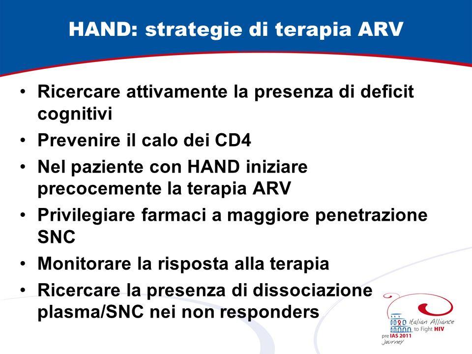 HAND: strategie di terapia ARV Ricercare attivamente la presenza di deficit cognitivi Prevenire il calo dei CD4 Nel paziente con HAND iniziare precocemente la terapia ARV Privilegiare farmaci a maggiore penetrazione SNC Monitorare la risposta alla terapia Ricercare la presenza di dissociazione plasma/SNC nei non responders