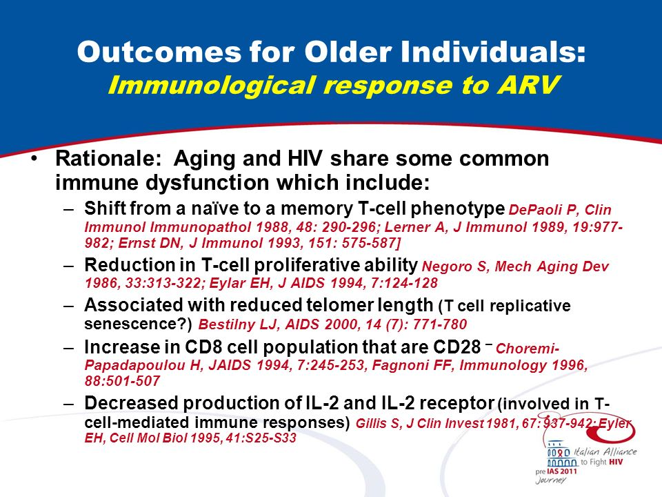 Outcomes for Older Individuals: Immunological response to ARV With some exceptions [Hernando K, AIDS 2001, 15 (12): 1591] most papers show a less favorable CD4 rise in older patients –At 12 months and 24 months in 55+ years old Goetz MB, AIDS 2001, 15 (12): 1576; Operskalski EA, JAIDS 1997, 15 (3): 243 –From 3 to 36 months for maximal CD4 rise, maximal attained CD4 and time to maximum CD4 Viard JID 2001;183:1290 Is this explained by changes in thymic output.