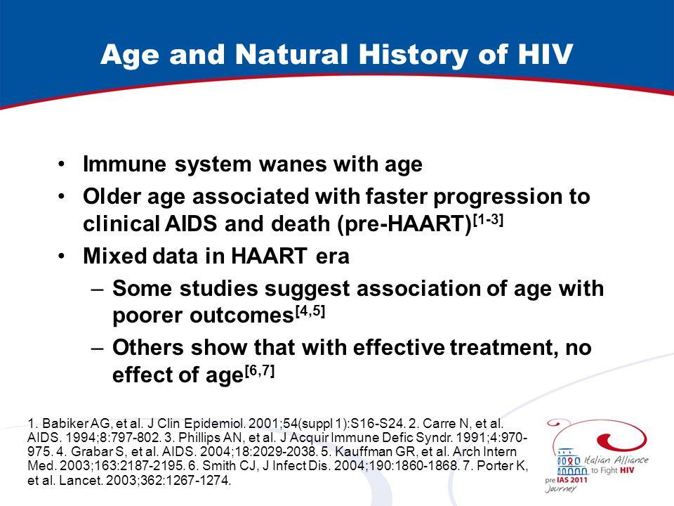 HIV Management in aging Starting HAART: –start HAART earlier in the older.