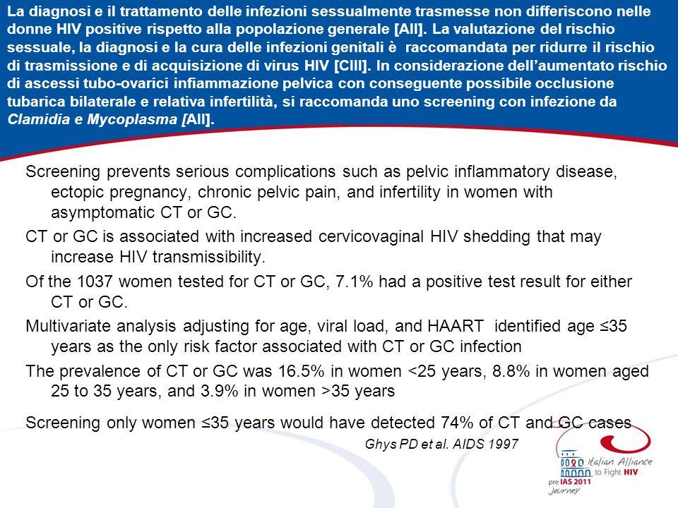 La diagnosi e il trattamento delle infezioni sessualmente trasmesse non differiscono nelle donne HIV positive rispetto alla popolazione generale [AII].