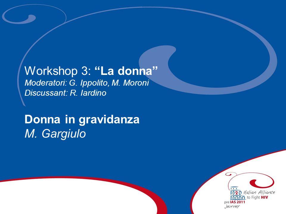 Workshop 3: La donna Moderatori: G. Ippolito, M. Moroni Discussant: R. Iardino Donna in gravidanza M. Gargiulo