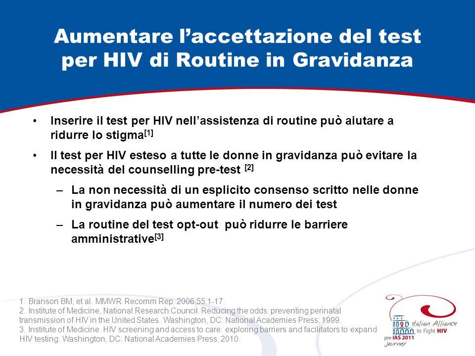Aumentare laccettazione del test per HIV di Routine in Gravidanza Inserire il test per HIV nellassistenza di routine può aiutare a ridurre lo stigma [