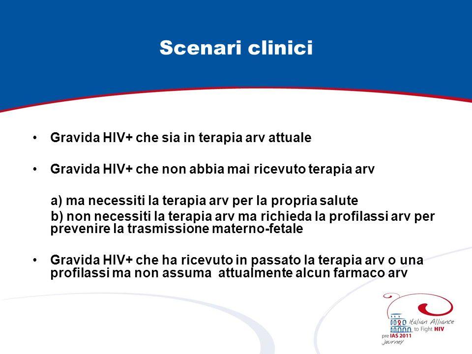 Scenari clinici Gravida HIV+ che sia in terapia arv attuale Gravida HIV+ che non abbia mai ricevuto terapia arv a) ma necessiti la terapia arv per la