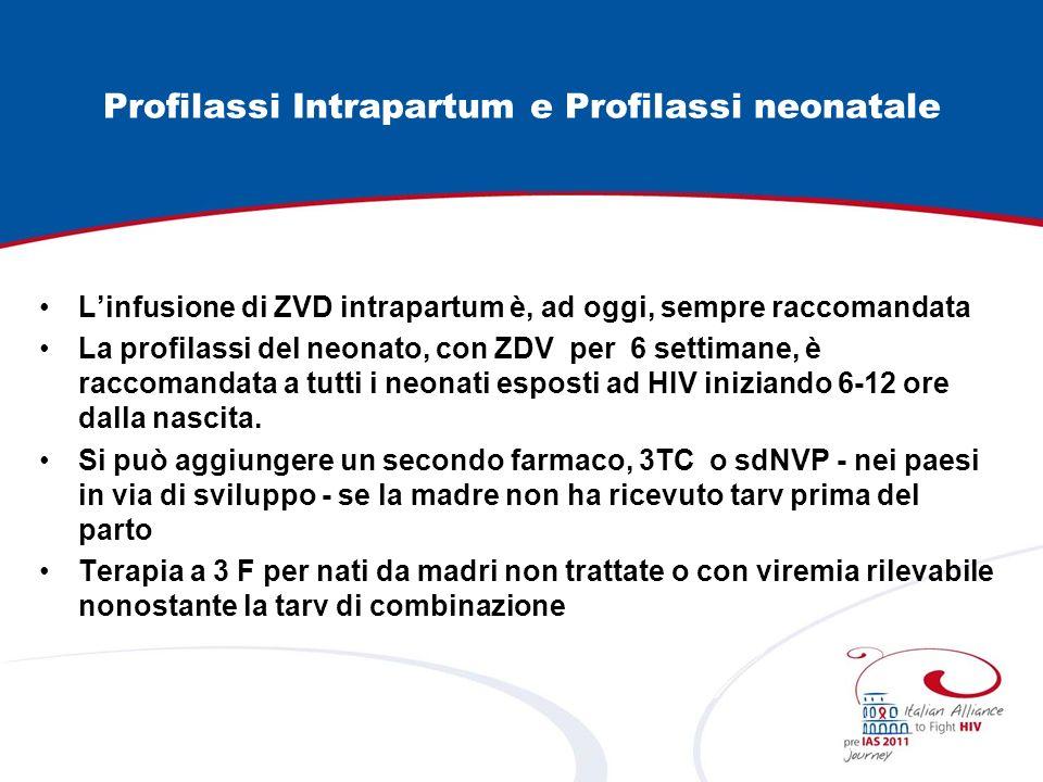 Profilassi Intrapartum e Profilassi neonatale Linfusione di ZVD intrapartum è, ad oggi, sempre raccomandata La profilassi del neonato, con ZDV per 6 s