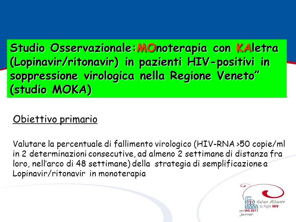 Obiettivi secondari Valutare la risposta virologica a una successiva terapia in caso di fallimento virologico.