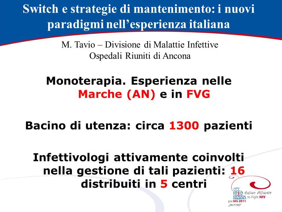 Switch e strategie di mantenimento: i nuovi paradigmi nellesperienza italiana Monoterapia.