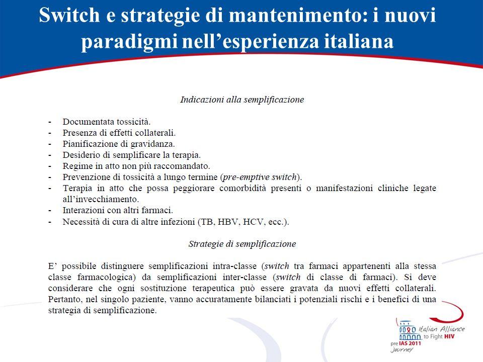 Indicazioni alla semplificazione - Documentata tossicità.