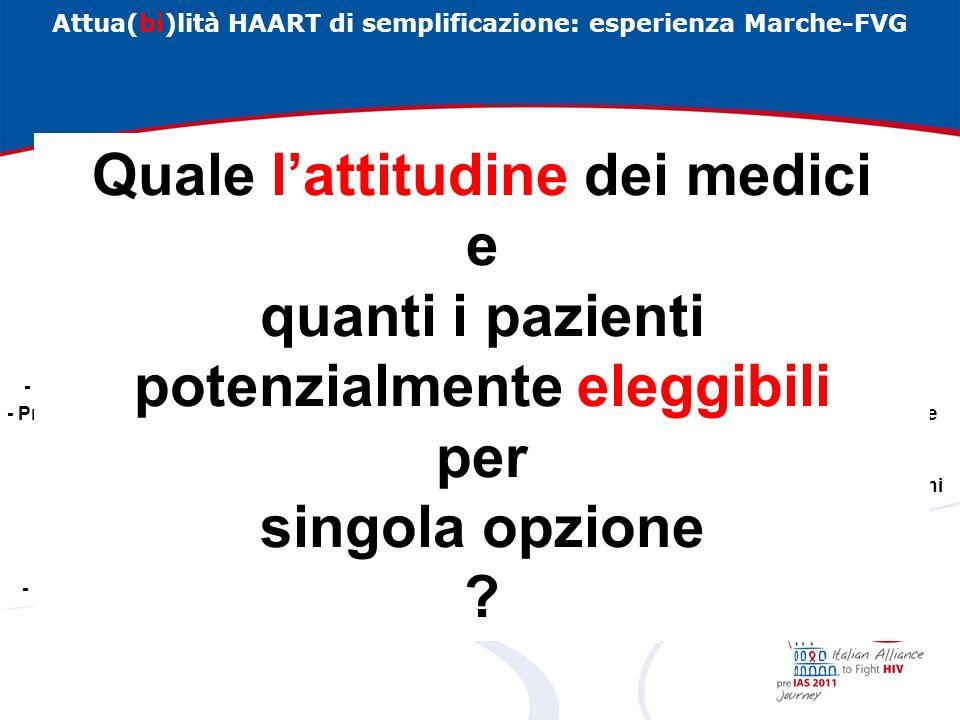Attua(bi)lità HAART di semplificazione: esperienza Marche-FVG Semplificare, secondo LGI 2010, in ragione di: prevenzione di tossicità a lungo termine (pre-emptive switch)