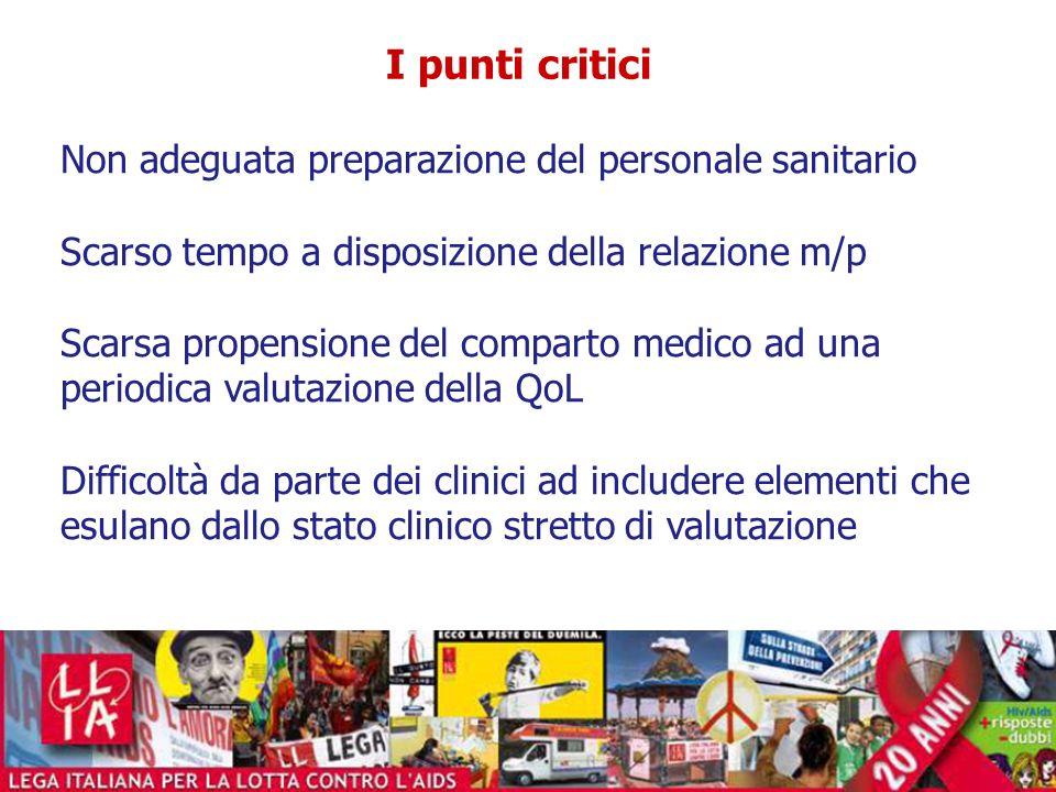 I punti critici Non adeguata preparazione del personale sanitario Scarso tempo a disposizione della relazione m/p Scarsa propensione del comparto medi