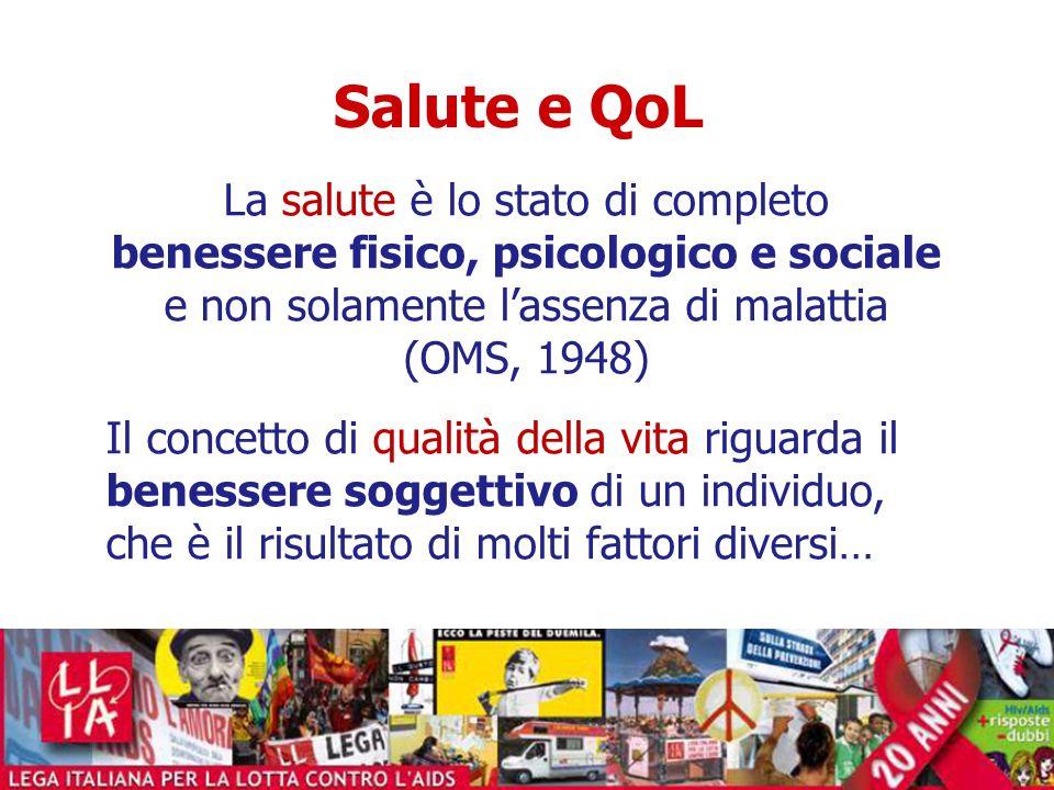 Le dimensioni della QoL Dimensioni correlate alla salute (HRQoL): -Funzioni fisiche -Funzioni psicologiche -Funzioni sociali -Funzioni di ruolo -Funzioni sessuali -Stato di salute generale Dimensioni non correlate alla salute (NRQoL): -Personali-individuali -Personali sociali -Ambiente naturale -Ambiente sociale