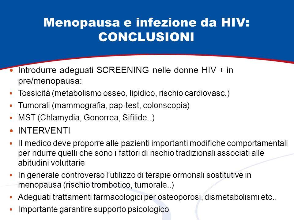 Introdurre adeguati SCREENING nelle donne HIV + in pre/menopausa: Tossicità (metabolismo osseo, lipidico, rischio cardiovasc.) Tumorali (mammografia,