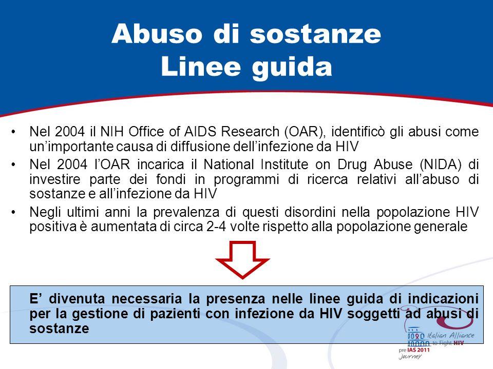 Abuso di sostanze Linee guida Nel 2004 il NIH Office of AIDS Research (OAR), identificò gli abusi come unimportante causa di diffusione dellinfezione da HIV Nel 2004 lOAR incarica il National Institute on Drug Abuse (NIDA) di investire parte dei fondi in programmi di ricerca relativi allabuso di sostanze e allinfezione da HIV Negli ultimi anni la prevalenza di questi disordini nella popolazione HIV positiva è aumentata di circa 2-4 volte rispetto alla popolazione generale E divenuta necessaria la presenza nelle linee guida di indicazioni per la gestione di pazienti con infezione da HIV soggetti ad abusi di sostanze