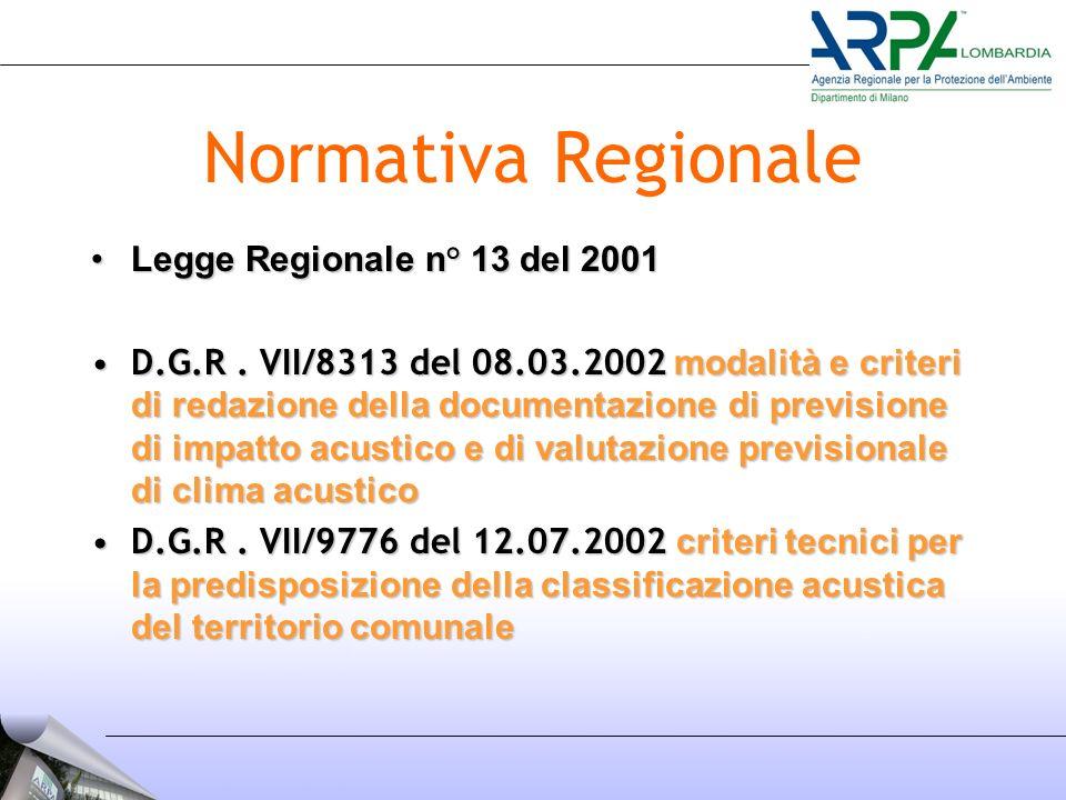 Normativa Regionale Legge Regionale n° 13 del 2001Legge Regionale n° 13 del 2001 D.G.R.