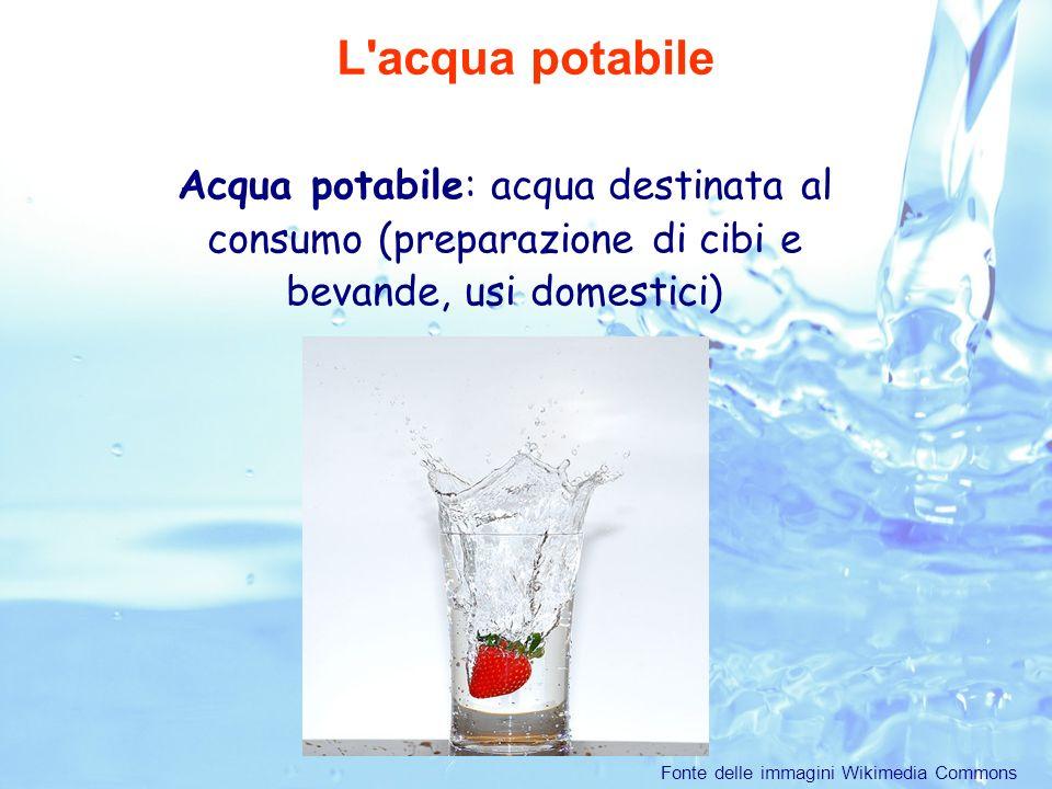 Acqua potabile: acqua destinata al consumo (preparazione di cibi e bevande, usi domestici) L acqua potabile Fonte delle immagini Wikimedia Commons