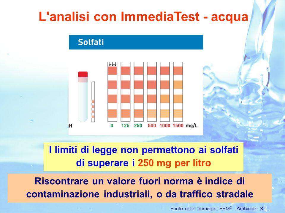 L analisi con ImmediaTest - acqua Fonte delle immagini FEM 2 - Ambiente S.r.l.