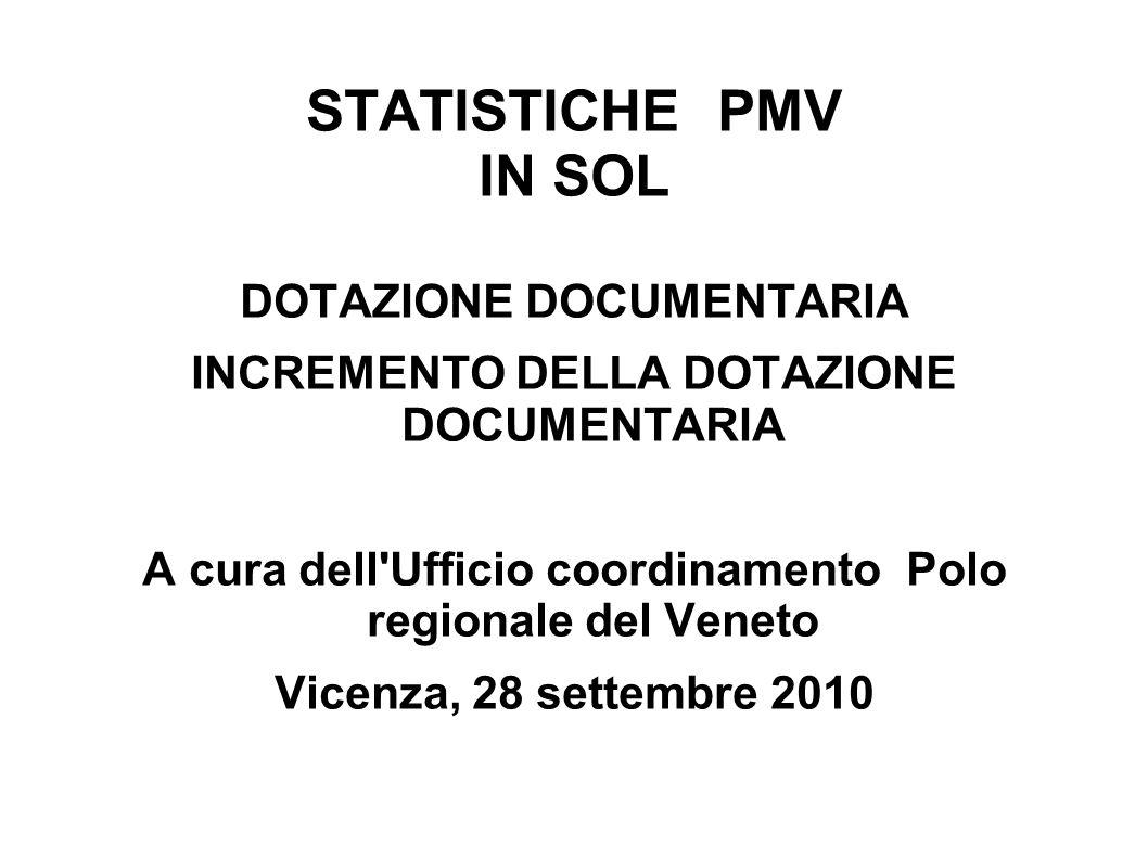 STATISTICHE PMV IN SOL DOTAZIONE DOCUMENTARIA INCREMENTO DELLA DOTAZIONE DOCUMENTARIA A cura dell Ufficio coordinamento Polo regionale del Veneto Vicenza, 28 settembre 2010