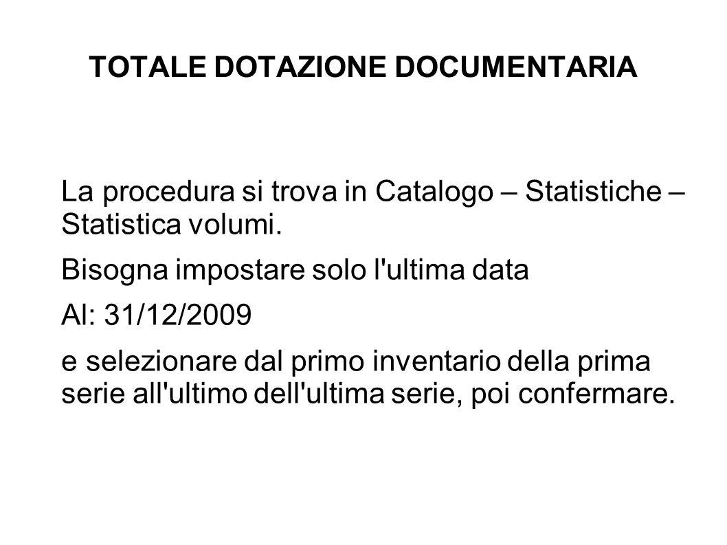In Reports – Statistica volumi verrà visualizzato il risultato ottenuto.