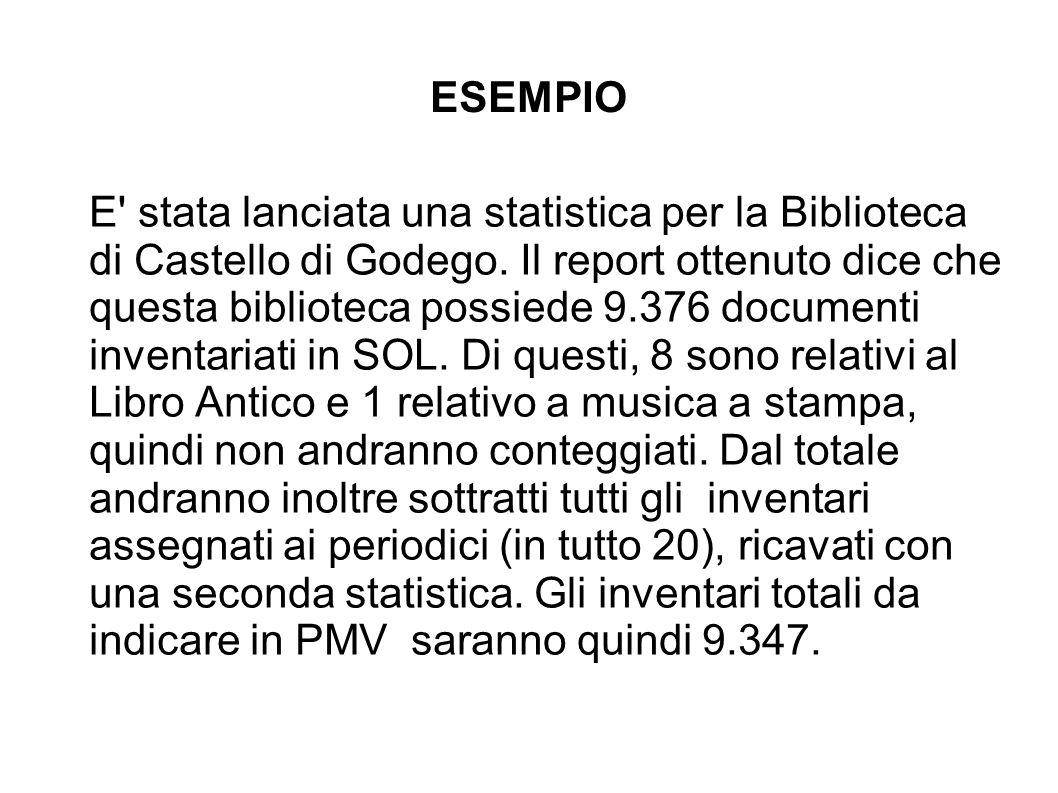 STATISTICA SU TUTTO IL MATERIALE POSSEDUTO NELLA BIBLIOTECA DI CASTELLO DI GODEGO