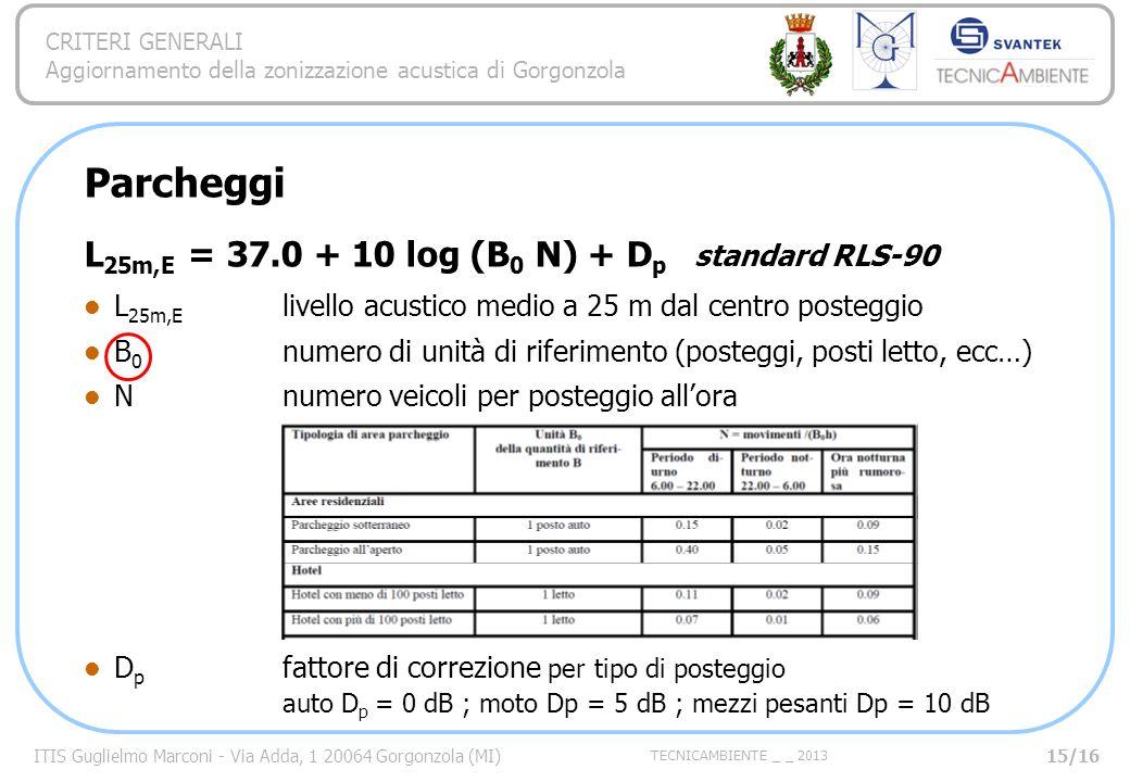 ITIS Guglielmo Marconi - Via Adda, 1 20064 Gorgonzola (MI) TECNICAMBIENTE _ _ 2013 CRITERI GENERALI Aggiornamento della zonizzazione acustica di Gorgonzola Parcheggi L 25m,E = 37.0 + 10 log (B 0 N) + D p standard RLS-90 L 25m,E livello acustico medio a 25 m dal centro posteggio B 0 numero di unità di riferimento (posteggi, posti letto, ecc…) Nnumero veicoli per posteggio allora D p fattore di correzione per tipo di posteggio auto D p = 0 dB ; moto Dp = 5 dB ; mezzi pesanti Dp = 10 dB 15/16