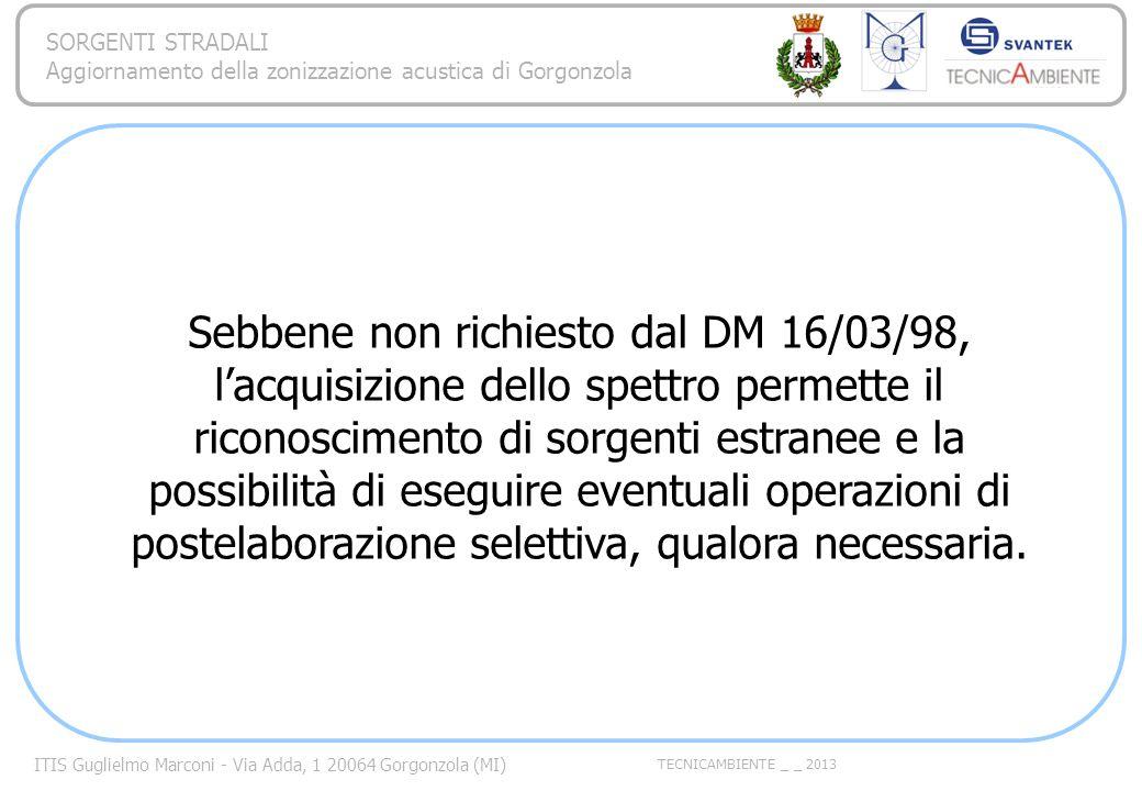 ITIS Guglielmo Marconi - Via Adda, 1 20064 Gorgonzola (MI) TECNICAMBIENTE _ _ 2013 SORGENTI STRADALI Aggiornamento della zonizzazione acustica di Gorg