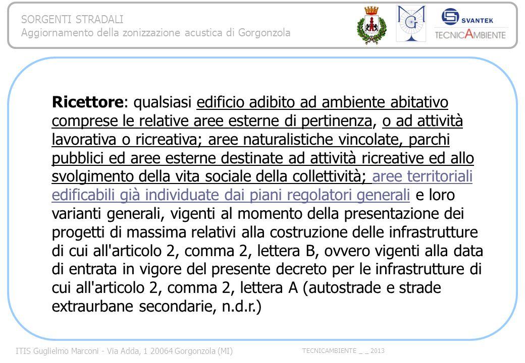 ITIS Guglielmo Marconi - Via Adda, 1 20064 Gorgonzola (MI) TECNICAMBIENTE _ _ 2013 SORGENTI STRADALI Aggiornamento della zonizzazione acustica di Gorgonzola Frequenza di acquisizione Non esiste un frequenza migliore di unaltra.