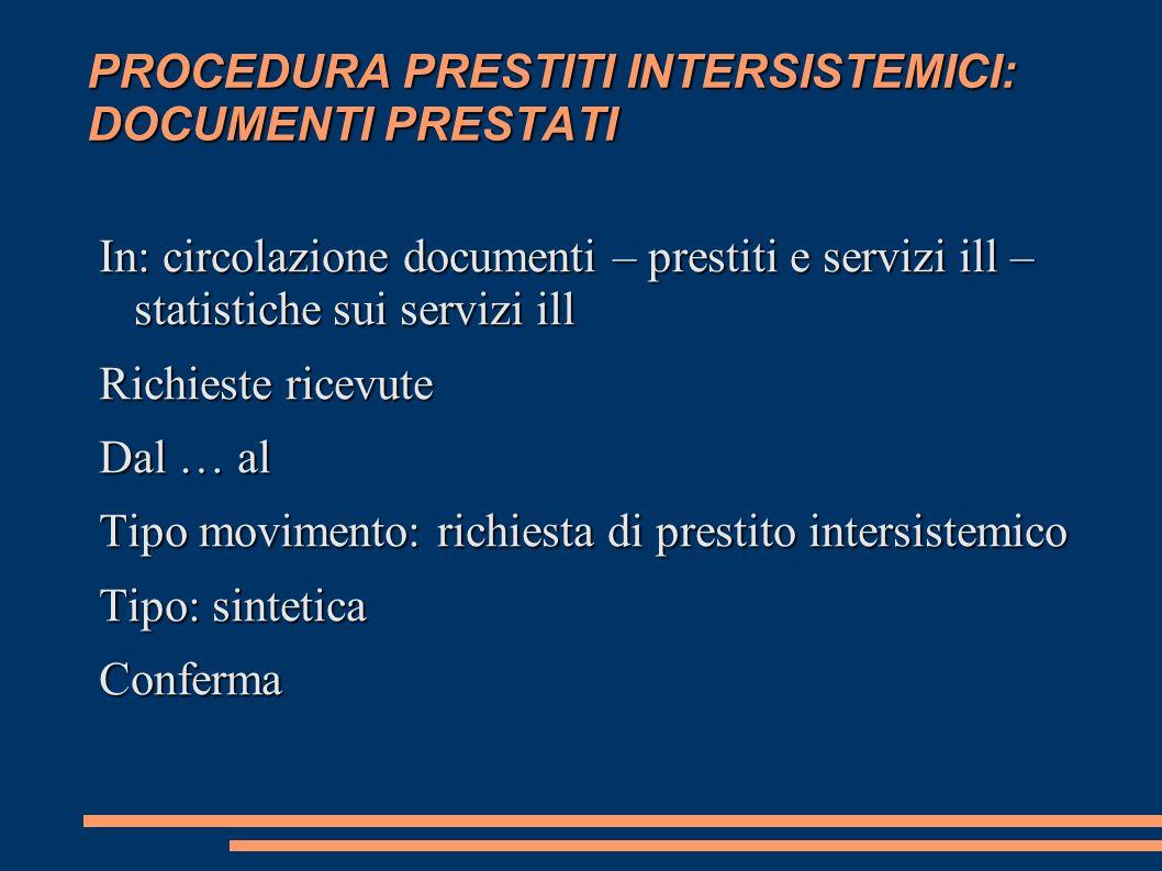 PROCEDURA PRESTITI INTERSISTEMICI: DOCUMENTI PRESTATI In: circolazione documenti – prestiti e servizi ill – statistiche sui servizi ill Richieste rice