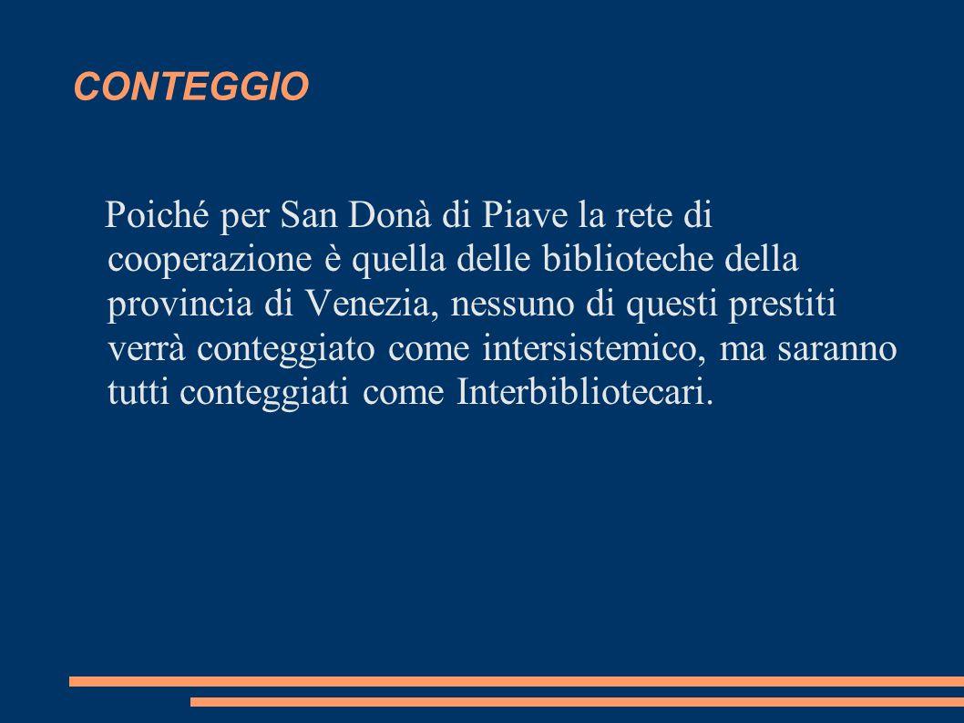 CONTEGGIO Poiché per San Donà di Piave la rete di cooperazione è quella delle biblioteche della provincia di Venezia, nessuno di questi prestiti verrà conteggiato come intersistemico, ma saranno tutti conteggiati come Interbibliotecari.