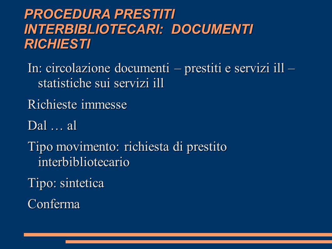 PROCEDURA PRESTITI INTERBIBLIOTECARI: DOCUMENTI RICHIESTI In: circolazione documenti – prestiti e servizi ill – statistiche sui servizi ill Richieste