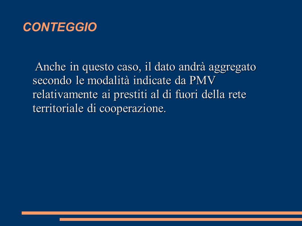 CONTEGGIO Anche in questo caso, il dato andrà aggregato secondo le modalità indicate da PMV relativamente ai prestiti al di fuori della rete territoriale di cooperazione.