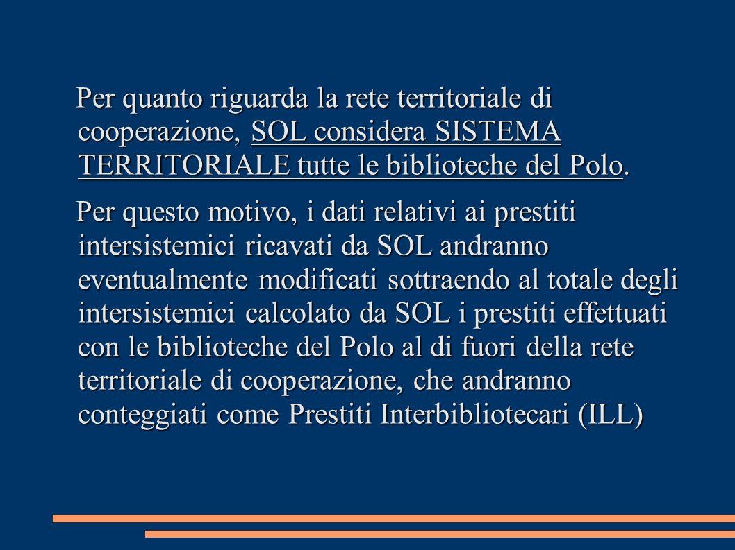 Per quanto riguarda la rete territoriale di cooperazione, SOL considera SISTEMA TERRITORIALE tutte le biblioteche del Polo. Per questo motivo, i dati