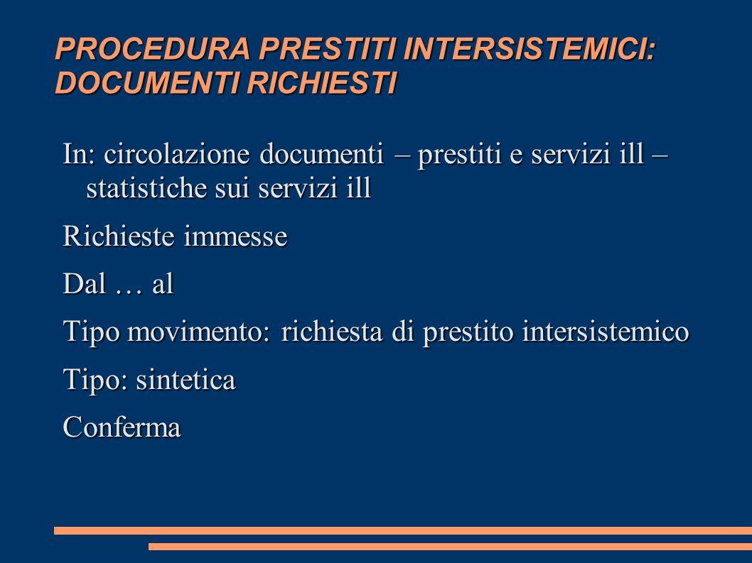 PROCEDURA PRESTITI INTERSISTEMICI: DOCUMENTI RICHIESTI In: circolazione documenti – prestiti e servizi ill – statistiche sui servizi ill Richieste imm