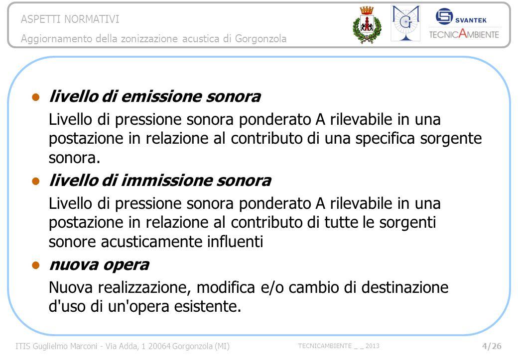 ITIS Guglielmo Marconi - Via Adda, 1 20064 Gorgonzola (MI) TECNICAMBIENTE _ _ 2013 ASPETTI NORMATIVI Aggiornamento della zonizzazione acustica di Gorgonzola 25/26