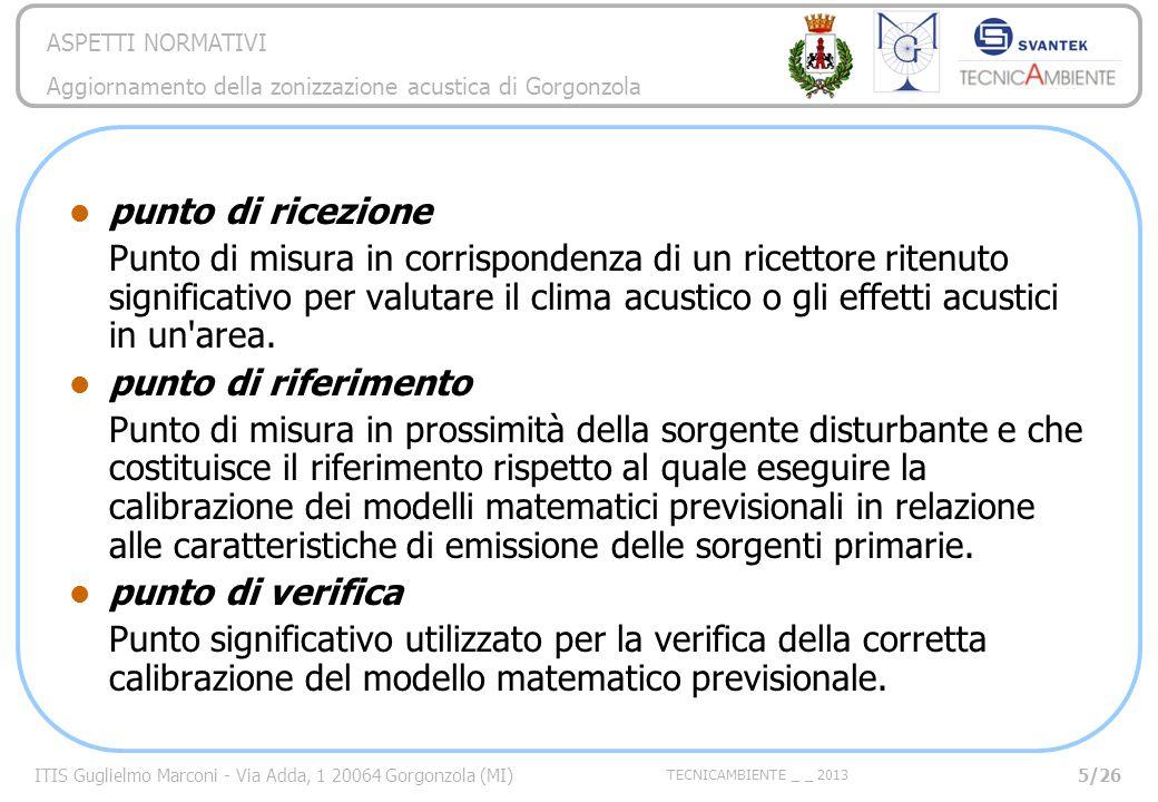 ITIS Guglielmo Marconi - Via Adda, 1 20064 Gorgonzola (MI) TECNICAMBIENTE _ _ 2013 ASPETTI NORMATIVI Aggiornamento della zonizzazione acustica di Gorgonzola 26/26