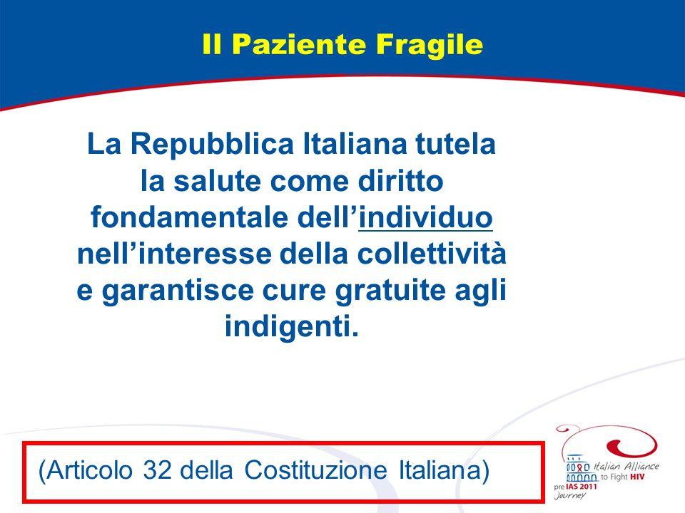 Il Paziente Fragile La Repubblica Italiana tutela la salute come diritto fondamentale dellindividuo nellinteresse della collettività e garantisce cure