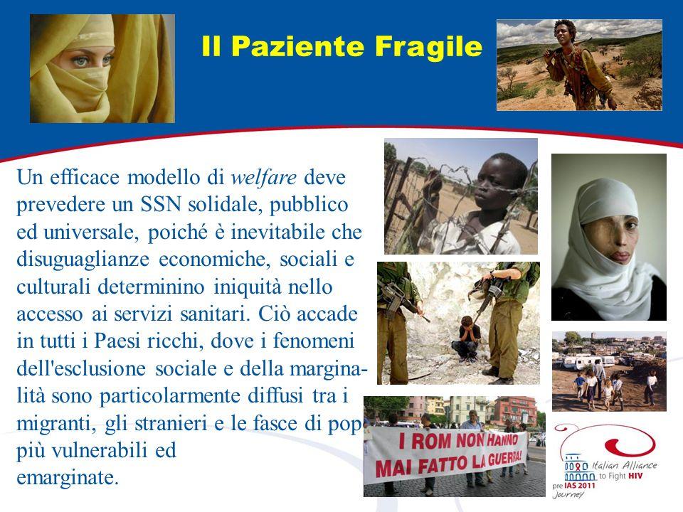 Il Paziente Fragile Un efficace modello di welfare deve prevedere un SSN solidale, pubblico ed universale, poiché è inevitabile che disuguaglianze eco