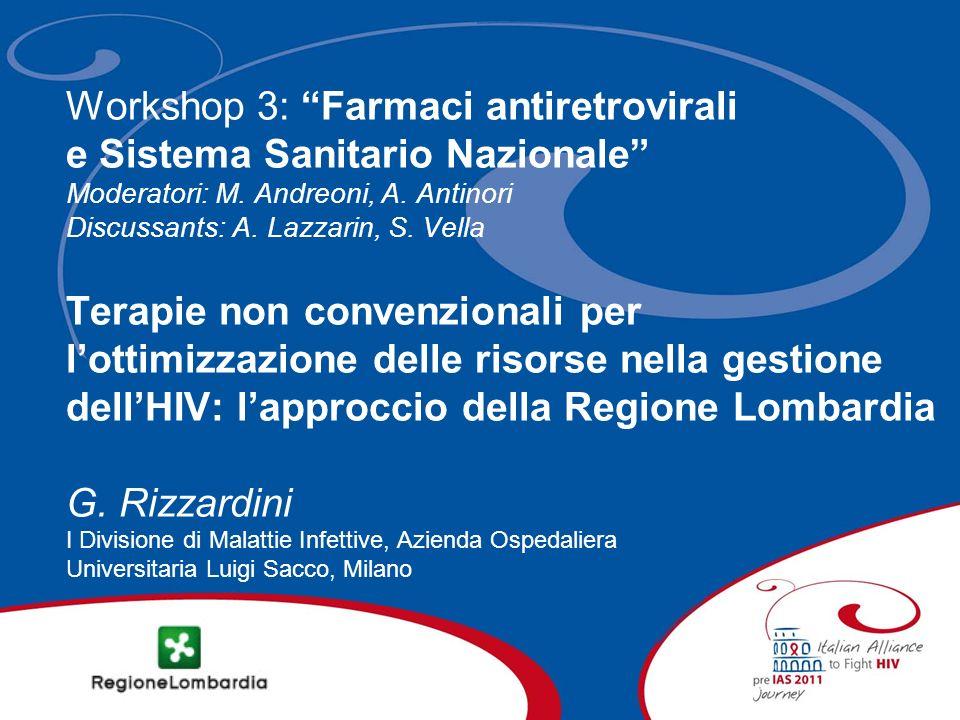 Workshop 3: Farmaci antiretrovirali e Sistema Sanitario Nazionale Moderatori: M.