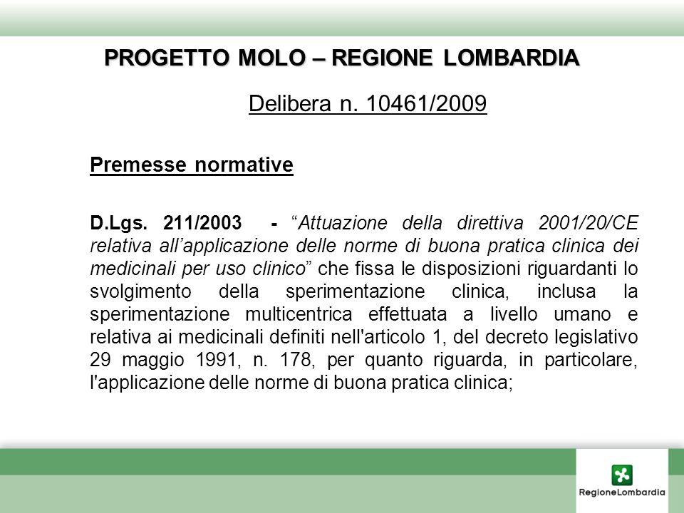 PROGETTO MOLO – REGIONE LOMBARDIA Delibera n.10461/2009 Premesse normative D.Lgs.