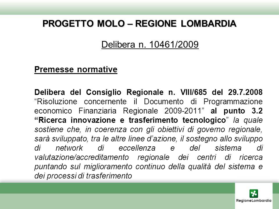 PROGETTO MOLO – REGIONE LOMBARDIA Delibera n.