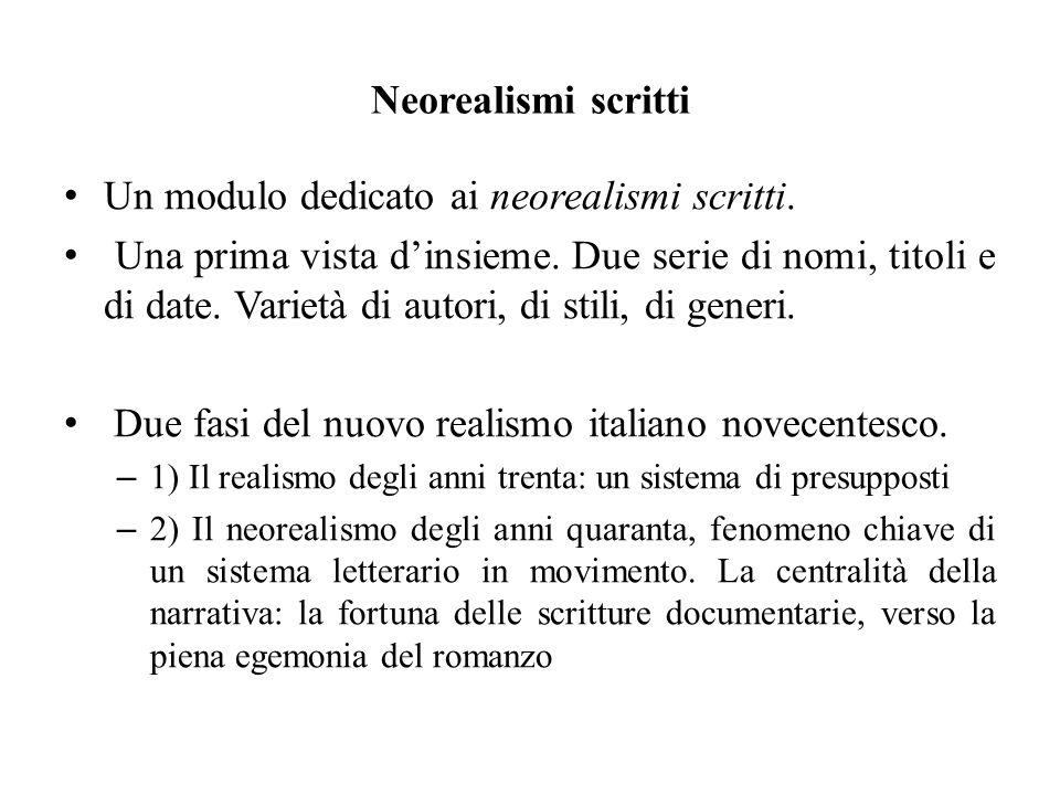 Neorealismi scritti Un modulo dedicato ai neorealismi scritti.