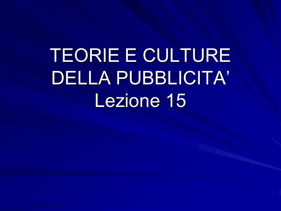 TEORIE E CULTURE DELLA PUBBLICITA Lezione 15