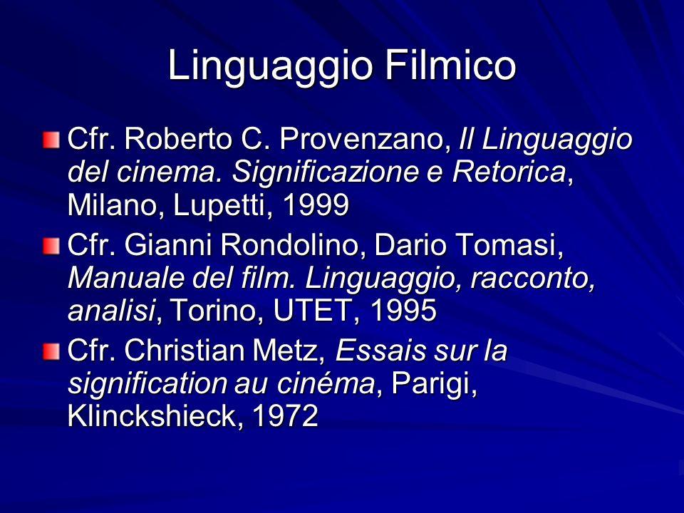 Linguaggio Filmico Cfr. Roberto C. Provenzano, Il Linguaggio del cinema. Significazione e Retorica, Milano, Lupetti, 1999 Cfr. Gianni Rondolino, Dario
