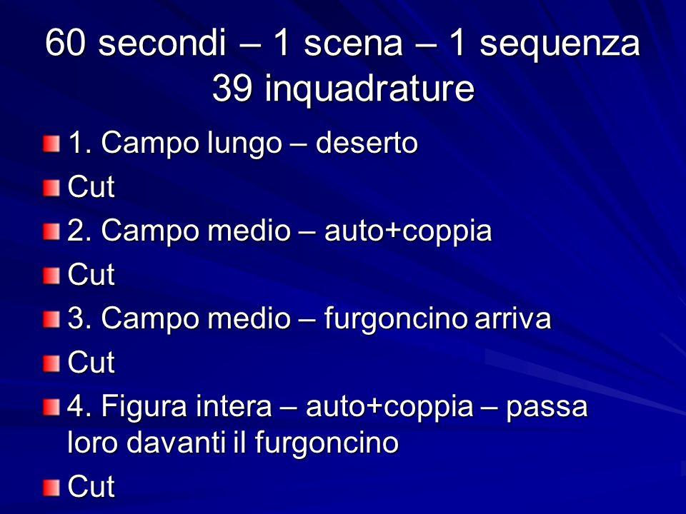 60 secondi – 1 scena – 1 sequenza 39 inquadrature 1. Campo lungo – deserto Cut 2. Campo medio – auto+coppia Cut 3. Campo medio – furgoncino arriva Cut