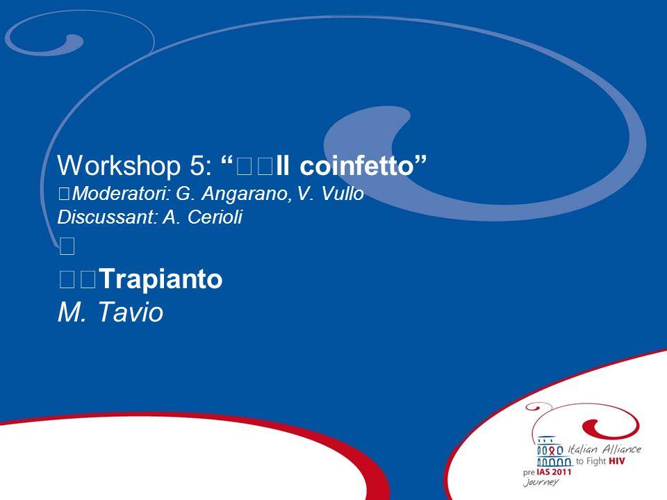 Workshop 5: Il coinfetto Moderatori: G. Angarano, V. Vullo Discussant: A. Cerioli Trapianto M. Tavio