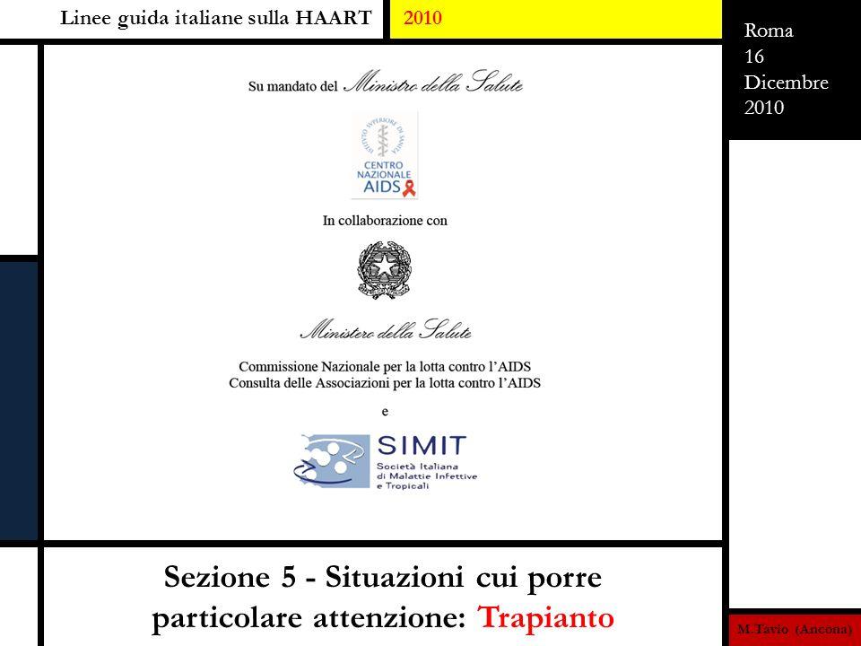 M.Tavio (Ancona) Roma 16 Dicembre 2010 Sezione 5 - Situazioni cui porre particolare attenzione: Trapianto Linee guida italiane sulla HAART 2010