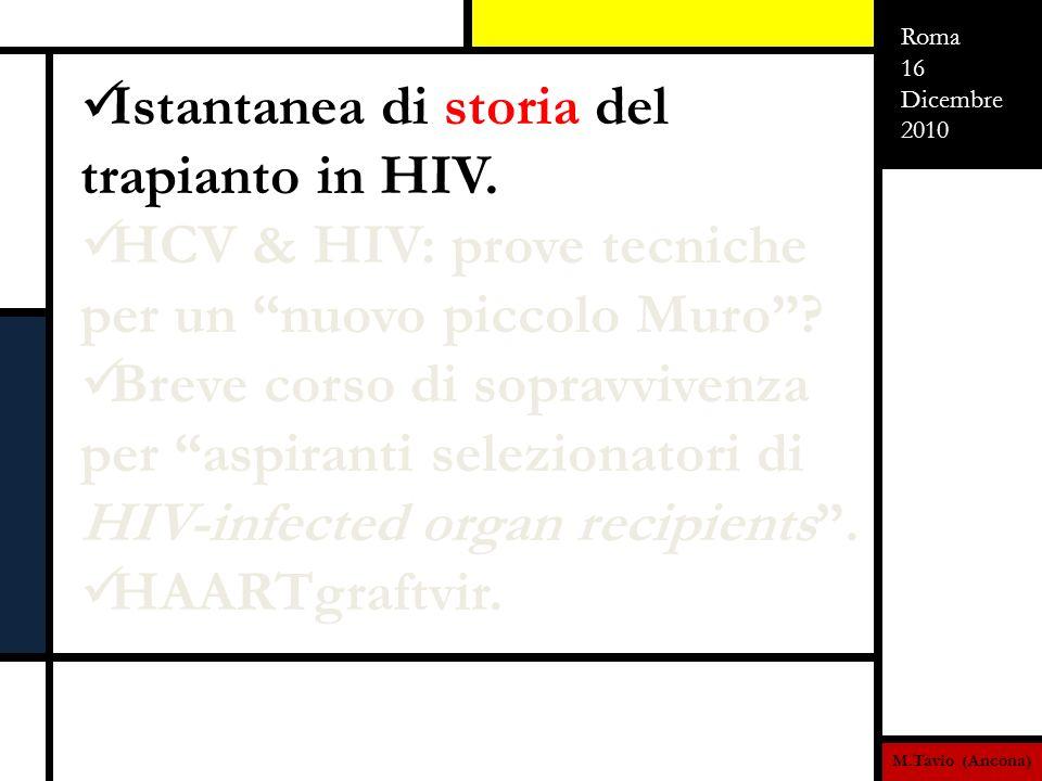 M.Tavio (Ancona) Roma 16 Dicembre 2010 HAART graftVIR La critica importanza di HAART nel setting del trapianto HIV poggia su due fondamentali capisaldi: In fase pre-trapianto: HAART deve necessariamente mantenere il paziente in risposta immunovirologica (altrimenti non risulterebbe eleggibile per la procedura) con il minor tasso di effetti collaterali (in quanto linsorgenza di epatotossicità potrebbe precipitare lo scompenso epatico e quindi lo stato di necessità trapiantologica, con i rischi aggiuntivi derivanti da una possibile sospensione della stessa terapia antiretrovirale).