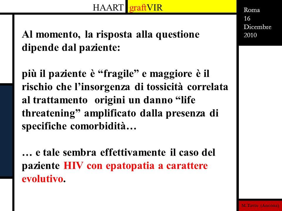 M.Tavio (Ancona) Roma 16 Dicembre 2010 HAART graftVIR Al momento, la risposta alla questione dipende dal paziente: più il paziente è fragile e maggior