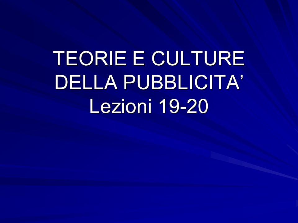TEORIE E CULTURE DELLA PUBBLICITA Lezioni 19-20