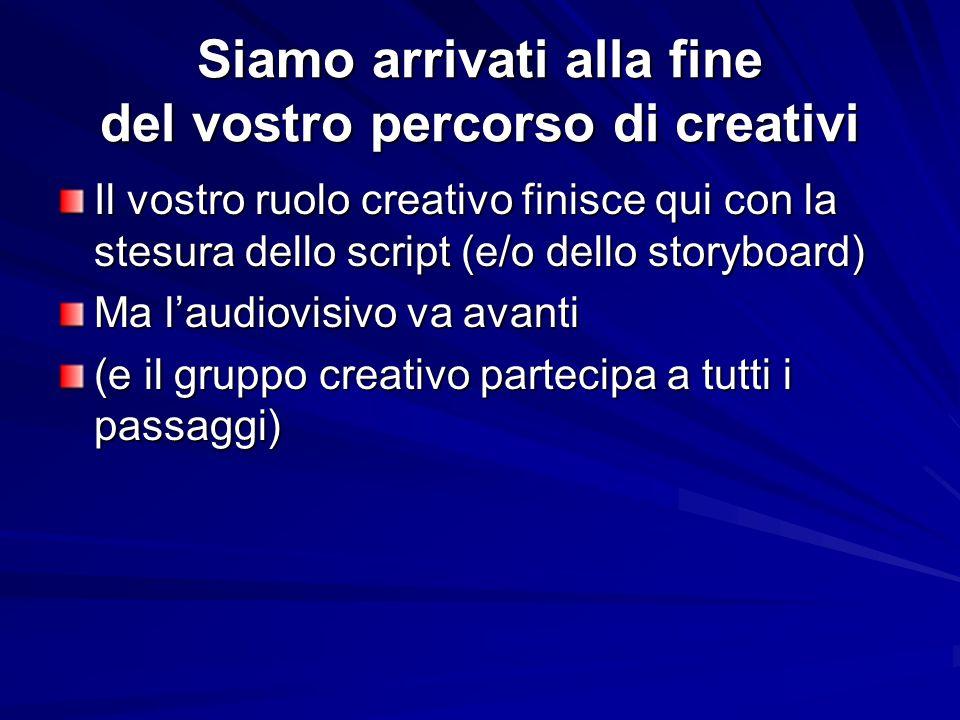 Siamo arrivati alla fine del vostro percorso di creativi Il vostro ruolo creativo finisce qui con la stesura dello script (e/o dello storyboard) Ma laudiovisivo va avanti (e il gruppo creativo partecipa a tutti i passaggi)